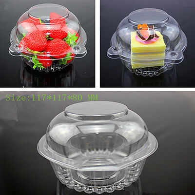 Hot 20pcs Individual Clear Plastic Single Cup Cake Muffin Case Pods Domes Boxes