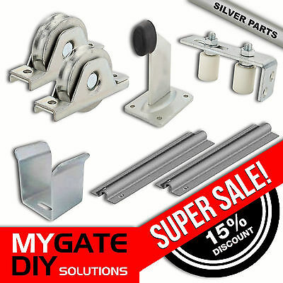 Sliding Gate Hardware Accessories Kit incl Track, Wheels, Stopper, Roller Guide