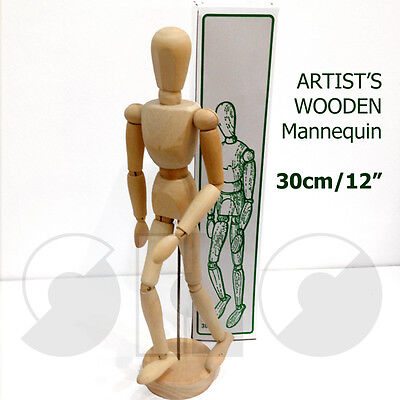 "Artist's mannequin 12"" Traditional Wooden Male Lay Figure -with moveable joints"