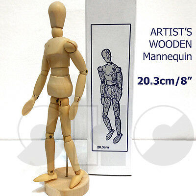 "Artist's mannequin 8"" Traditional Wooden Male Lay Figure -with moveable joints"