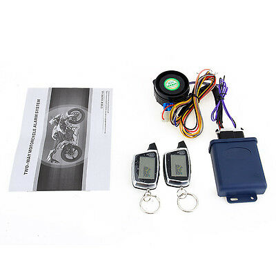Motorcycle Alarm System Two-Way LCD Alarm Remotes Control Start Engine 125dB