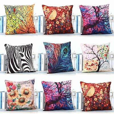 "18"" Animal Tree Flower Cushion Cover Sofa Throw Pillow Case Bed Car Home Decor"