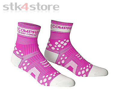 Calcetines Compressport Pro Racing Socks Run Fluo V2 Talla 37/39  Rosa / Blanco