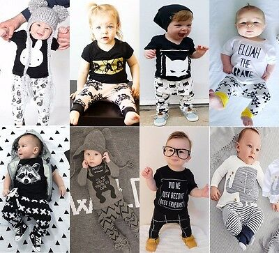 Newborn Baby Boys Girls Kids Casual T-shirt Tops+Long Pants Outfits Clothes Set