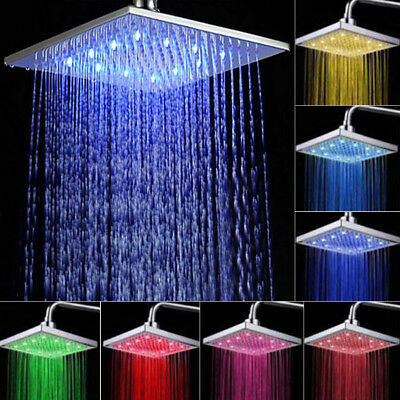 """Square Round 8"""" inch LED Colour Changing Shower Head Bathroom 12"""" Thin Stainless"""
