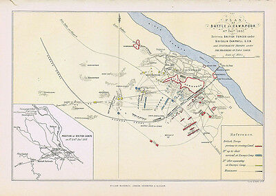 INDIA Plan of the Battle of Cawnpore 1857 - Antique Map 1885 by Wm MacKenzie