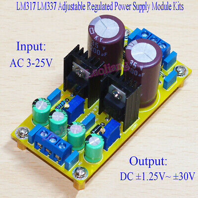 AC-DC 1.5A LM317 LM337 Adjustable Regulated Power Supply Module Board DIY Kits
