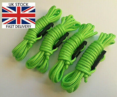 FLUORESCENT GREEN Guy Line Rope x4 PACK Ropes Tent Camping bright greeny yellow