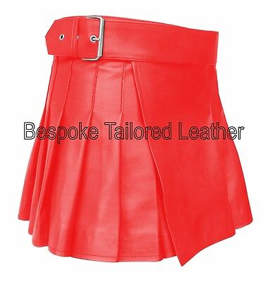 Mens Real Leather Kilt Short  in  Real Leather in  RED BKLN002