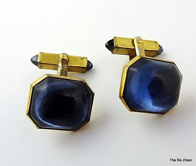 Vintage Cufflinks Swank Blue Glass Cab Toggle Ends Angled Posts Cuff Links