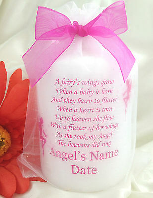 Personalised Baby Loss Angel Candle, Fairies, Memorial, Remembrance, Bereavement