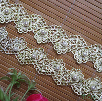 1yd Vintage Pearl Embroidered Lace Trim Ribbon Wedding Applique DIY Sewing Craft