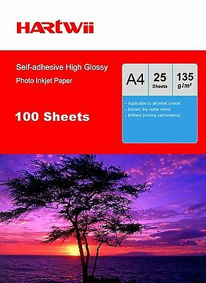 A4 Sticker Adhesive Photo Paper 135G High Glossy Inkjet Printer -100 Sheets