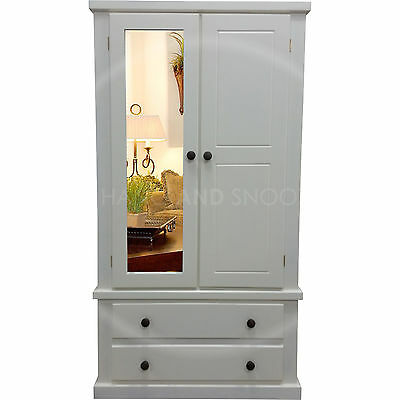 Handmade Dewsbury Mirrored Door Wardrobe Ivory Dark Oak (Assembled)