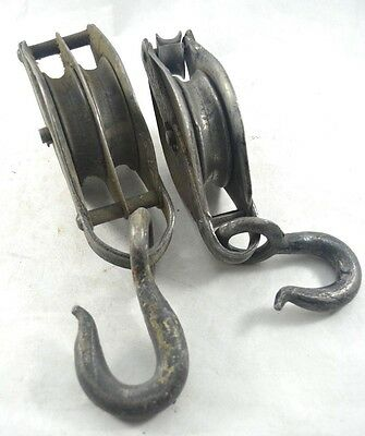 Vintage Double Pulley Single Pulley Block & Tackle Pullies Tools Hooks
