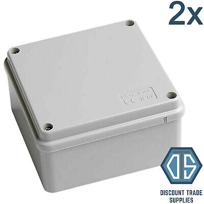2x Waterproof Junction Box 100 x 100 x 50 IP56 PVC Adaptable Box Enclosure