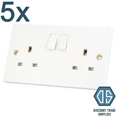 5x 2 Gang Double Sockets 13amp White Double Twin Switched Double Wall Sockets