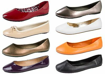 149ecee2579 Womens Faux Leather Ballet Pumps Flat Casual Loafers Dolly Shoes Ladies Size