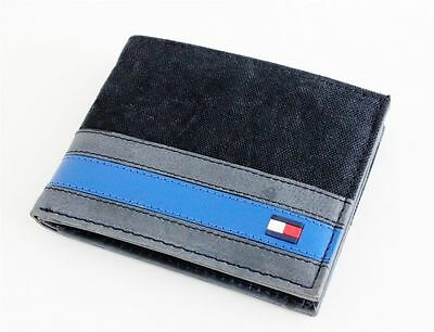New Tommy Hilfiger Black Leather Fabric Passcase  Men's Billfold Wallet 4896/01