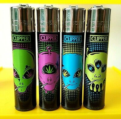 4 Rare Clipper Lighters - Stoned Aliens Weed 420 - Complete Set x4 pcs