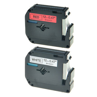 2PK Black on White/Red Tape for Brother P-touch M-K231 M-K431 12mm Label Maker