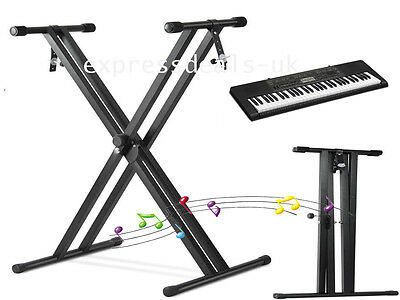 Livivo Folding Keyboard Stand Adjustable Double X Frame With Straps Music Black