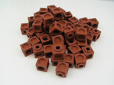 100 Multi Link Early Learning Maths Counting Blocks Cubes Brown New