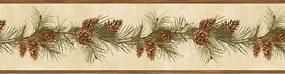 Rustic Lodge Pine Cone Pine Boughs Trail Brewster Wallpaper Border BVB48403