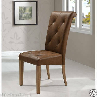Modern Antique Solid Rubberwood Buttoned Tufted Brown Leather Dining Chair