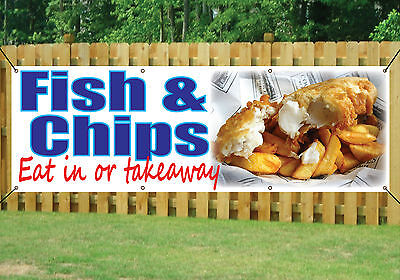 FISH /& CHIPS Banner Outdoor//Indoor Catering Sign Waterproof PVC Banner