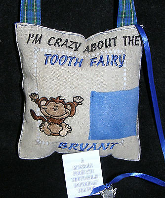Personalized Monkey Tooth Fairy Pillow w/Charm Free Shipping