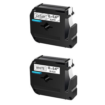 2PK Black on Clear/White Tape for Brother P-touch M-K131 M-K231 12mm Label Maker