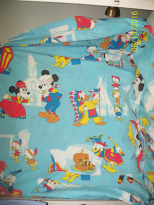 """vintage disney frontierland bed FLAT sheet Cutter Fabric characters 63"""" x 104"""""""