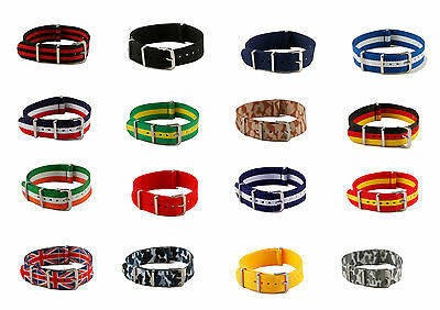 18mm Military Nylon Nato Watch Straps Massive Range of Colours and Flags