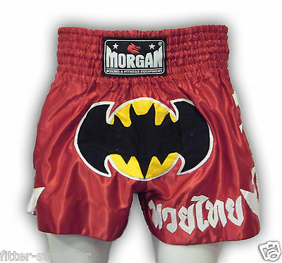 "Muay Thai shorts kickboxing fight PAIR XS S M L XL ""BATMAN RED"" KIDS TEENS ADULT"