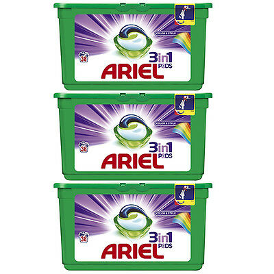 3 X Ariel 3 In 1 Pods Colour Washing Tablets - Total 114 Washing Capsules