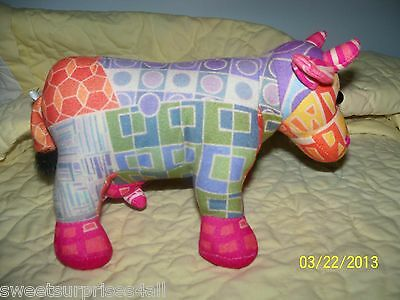 Stuffed COW parade colorful animal 2001 cowparade hot pink udder beanbag tummy