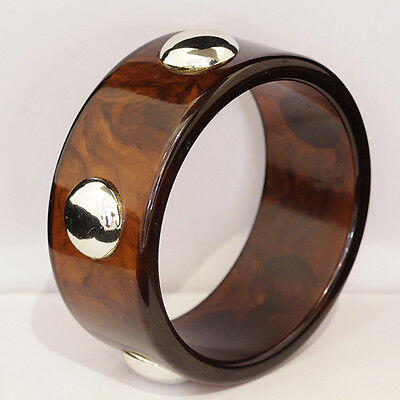 Great Vintage Tortoise shell Bakelite bangle with silver studs.