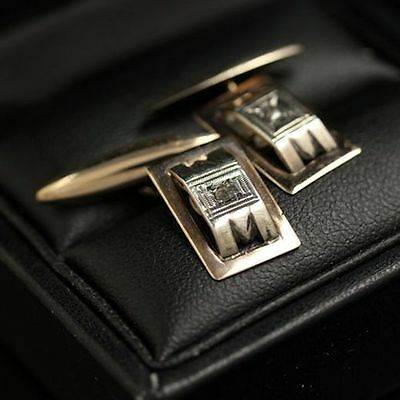 Antique cufflinks, Very Fine French Art Deco in Rose and White Gold, Diamond cuf