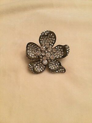 Vintage Style Large Rhinestone Flower Ring size 5.5 Statement Piece