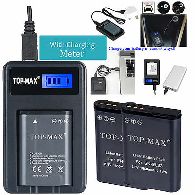2 x EN-EL23 Battery+USB Charger for Nikon Coolpix P600 S810c P900s P90 1850mah