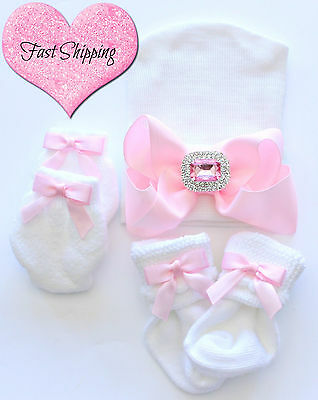 Newborn Baby Infant Girl Toddler Comfy pink Hospital Beanie Hat Big Bow set #6