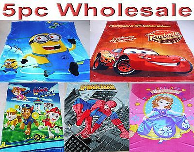 6pc Wholesale Large Kids Fleece Blanket Paw patrol Spiderman Cars Mixed 1.5Mx2M