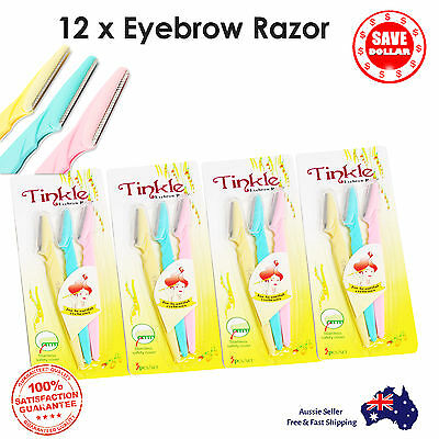 12p Facial Eyebrow Razor Trimmer Shaper Shaver Blade Knife Hair Remover Tinkle