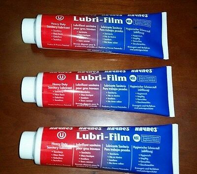 THREE 4 oz. Tubes Haynes Lubri-Film Food Grade Lube Bunn Ultra CDS Lubrifilm