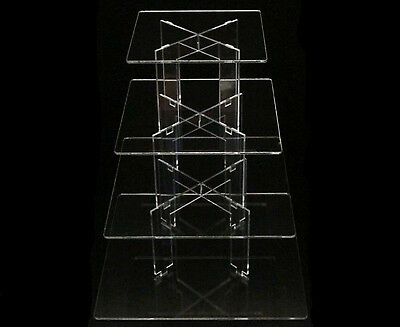 4 Tier Square Acrylic Cupcake Party Wedding Cake Stand