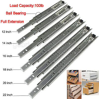 "Pair Drawer Slides Side Mount Full Extension 12-22""Heavy Duty Ball Bearing 100lb"