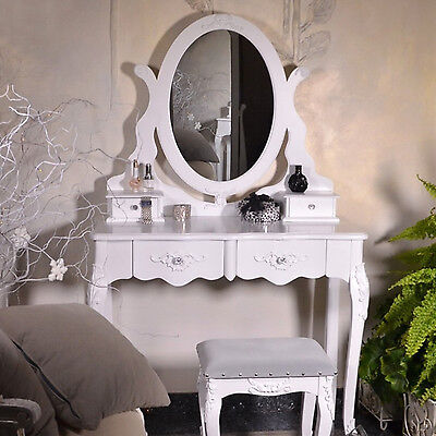 Vintage Dressing Table Mirror Drawer Retro Antique French Style White