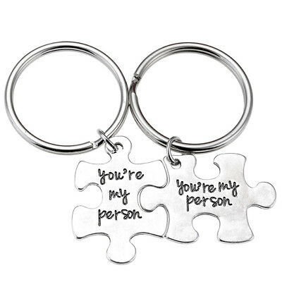 Fashion Silvery Metal Puzzle You're My Person Keychain Couple Lover Keyrings Set