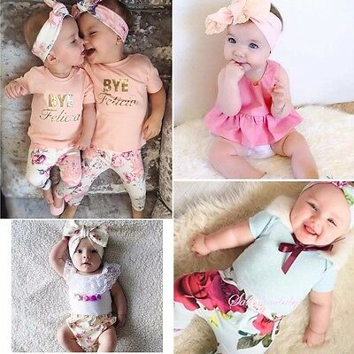 Newborn Infant Baby Girls T-shirt Dress +Pants Outfits Clothes Set Size 000-2